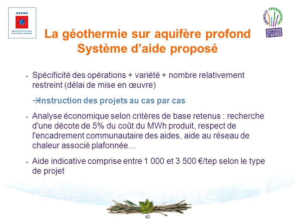 40 La géothermie sur aquifère profond Système daide proposé Spécificité des opérations + variété + nombre relativement restreint (délai de mise en œuv