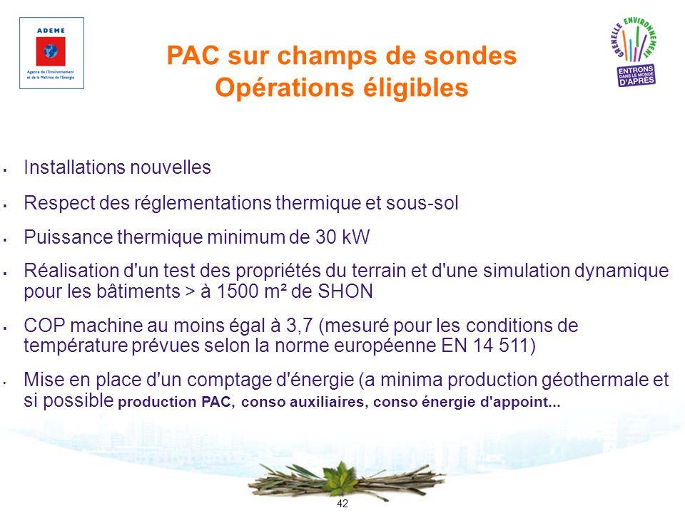 42 PAC sur champs de sondes Opérations éligibles Installations nouvelles Respect des réglementations thermique et sous-sol Puissance thermique minimum
