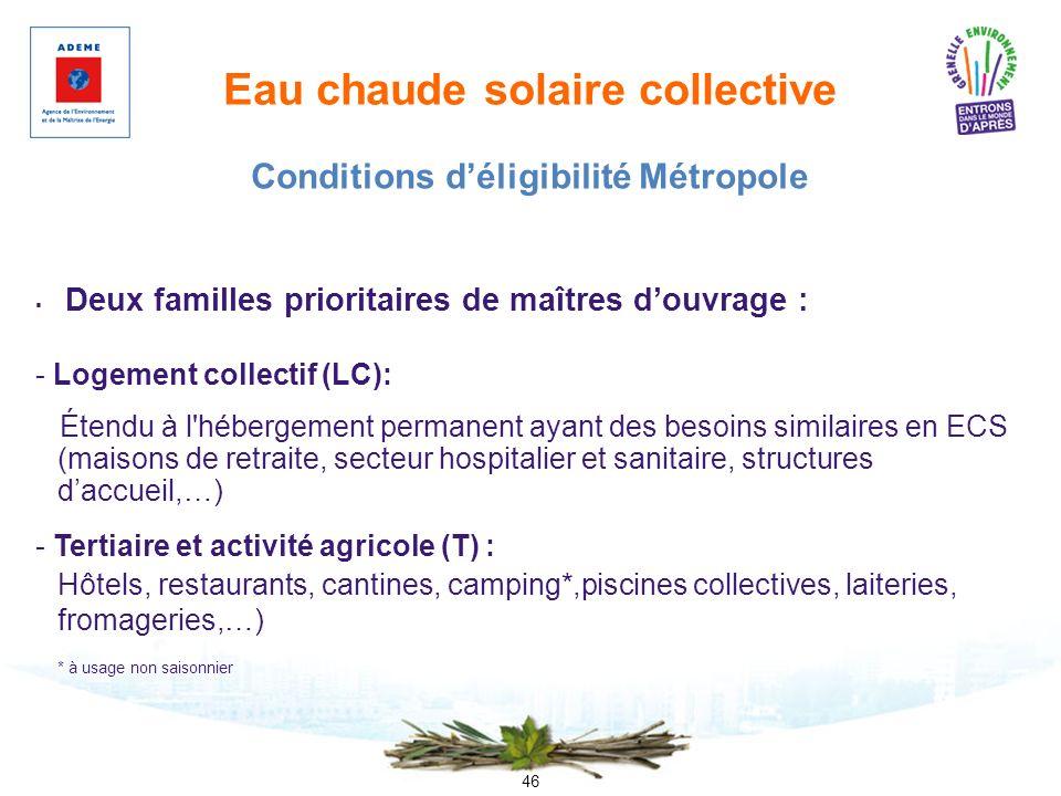 46 Eau chaude solaire collective Deux familles prioritaires de maîtres douvrage : - Logement collectif (LC): Étendu à l'hébergement permanent ayant de