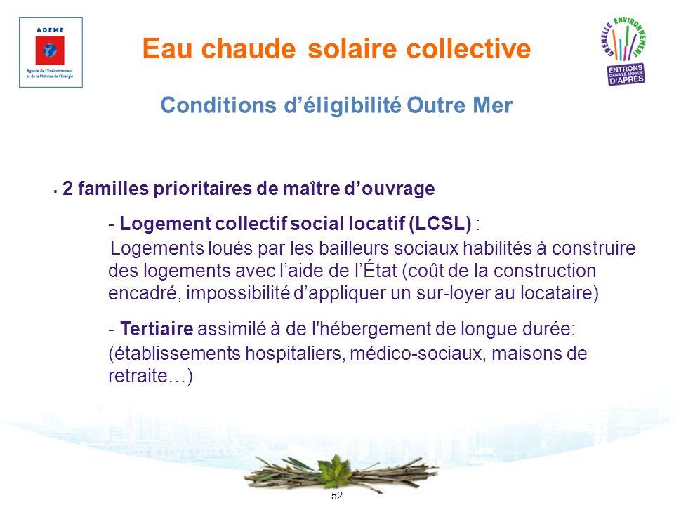 52 Eau chaude solaire collective 2 familles prioritaires de maître douvrage - Logement collectif social locatif (LCSL) : Logements loués par les baill