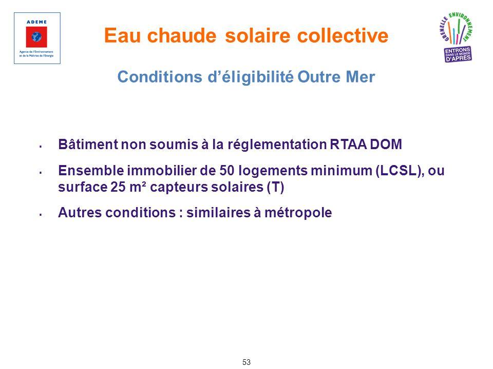 Eau chaude solaire collective 53 Bâtiment non soumis à la réglementation RTAA DOM Ensemble immobilier de 50 logements minimum (LCSL), ou surface 25 m²