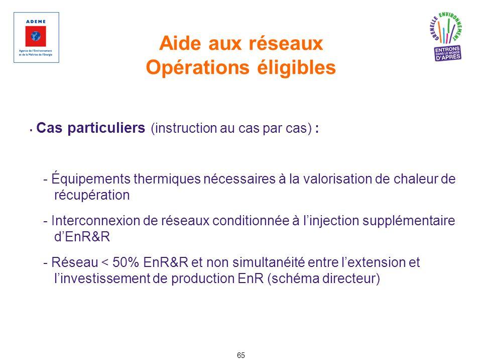 Aide aux réseaux Opérations éligibles 65 Cas particuliers (instruction au cas par cas) : - Équipements thermiques nécessaires à la valorisation de cha