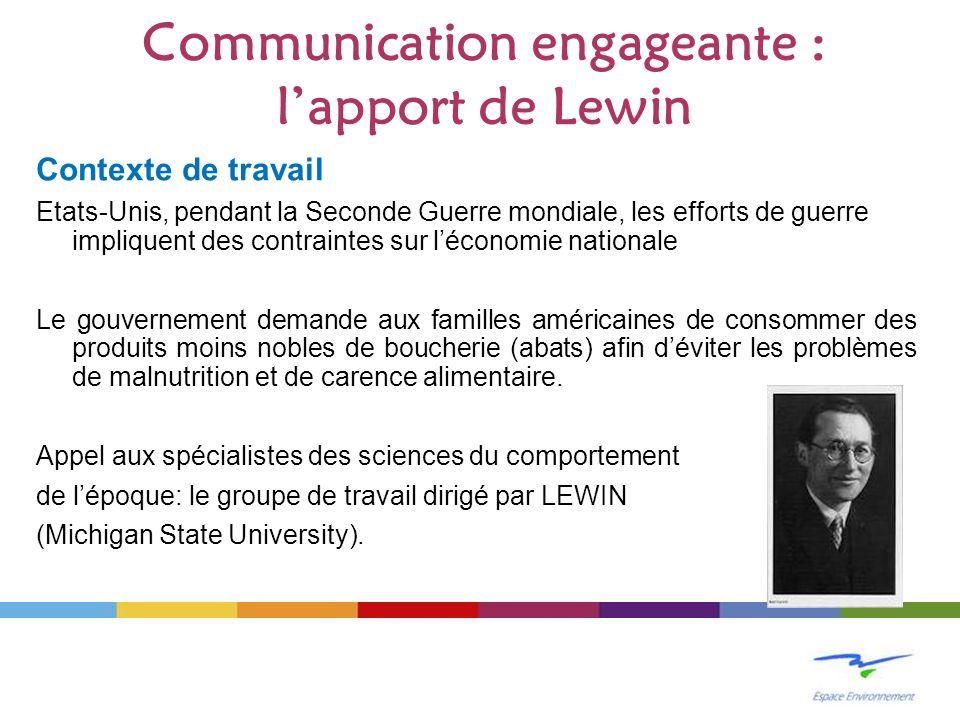 Communication engageante : lapport de Lewin Contexte de travail Etats-Unis, pendant la Seconde Guerre mondiale, les efforts de guerre impliquent des c