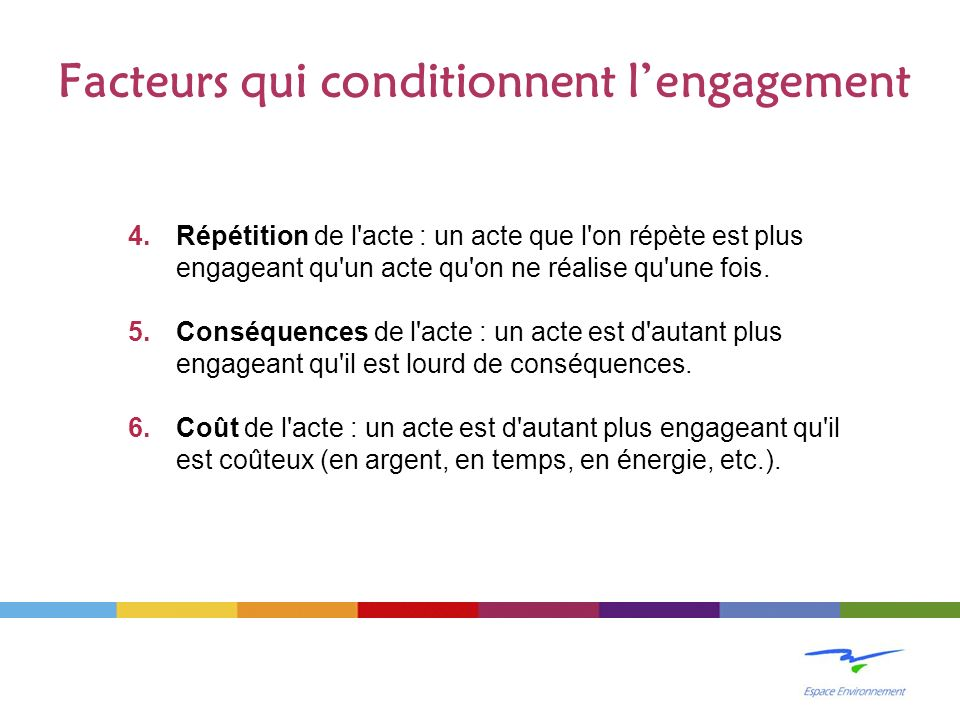 4.Répétition de l'acte : un acte que l'on répète est plus engageant qu'un acte qu'on ne réalise qu'une fois. 5.Conséquences de l'acte : un acte est d'