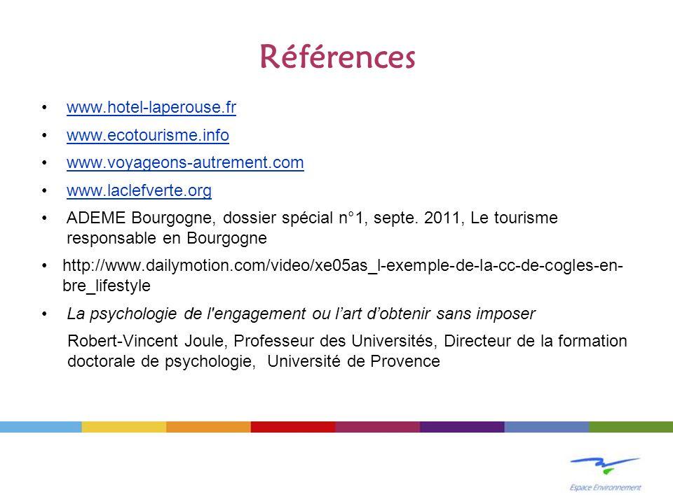 Références www.hotel-laperouse.fr www.ecotourisme.info www.voyageons-autrement.com www.laclefverte.org ADEME Bourgogne, dossier spécial n°1, septe. 20