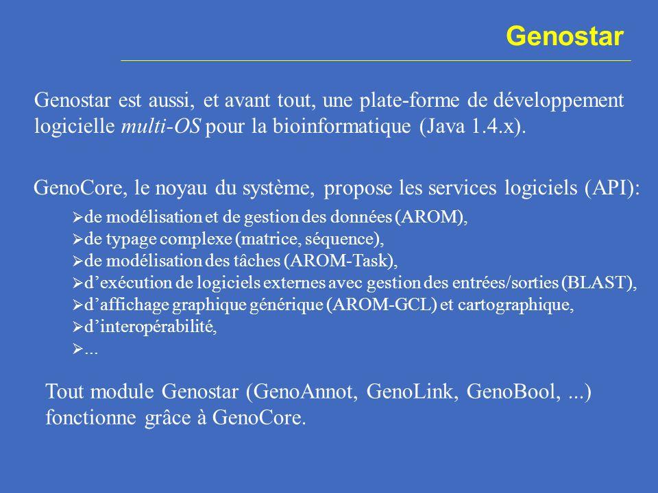 Genostar est aussi, et avant tout, une plate-forme de développement logicielle multi-OS pour la bioinformatique (Java 1.4.x). GenoCore, le noyau du sy