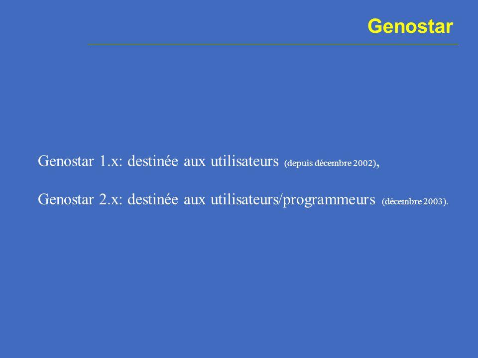 Genostar Genostar 1.x: destinée aux utilisateurs (depuis décembre 2002), Genostar 2.x: destinée aux utilisateurs/programmeurs (décembre 2003).
