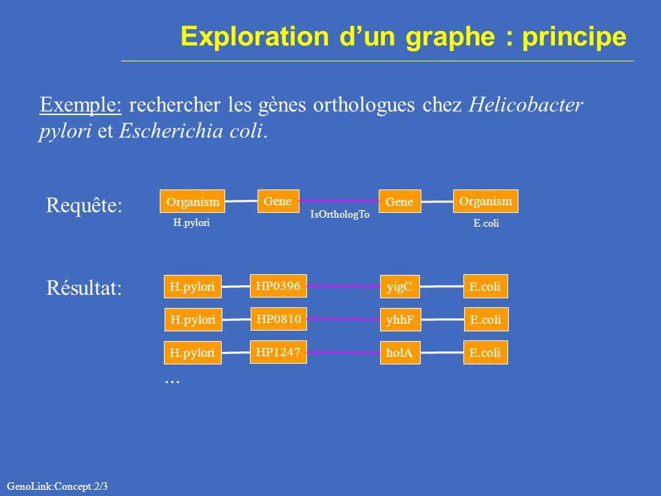 Langage de requête : GQL GQL = GenoLink-Graph Query Language Soit Q=(A,Y,GC) un graphe requête où A={a i } i=1,m un ensemble de variables de noeud Y={y k } k=0,n un ensemble de variables darête GC une expression sur a i et y k (Global Constraint).