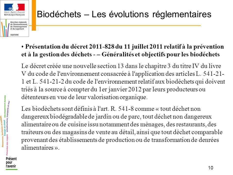 10 Biodéchets – Les évolutions réglementaires Présentation du décret 2011-828 du 11 juillet 2011 relatif à la prévention et à la gestion des déchets -