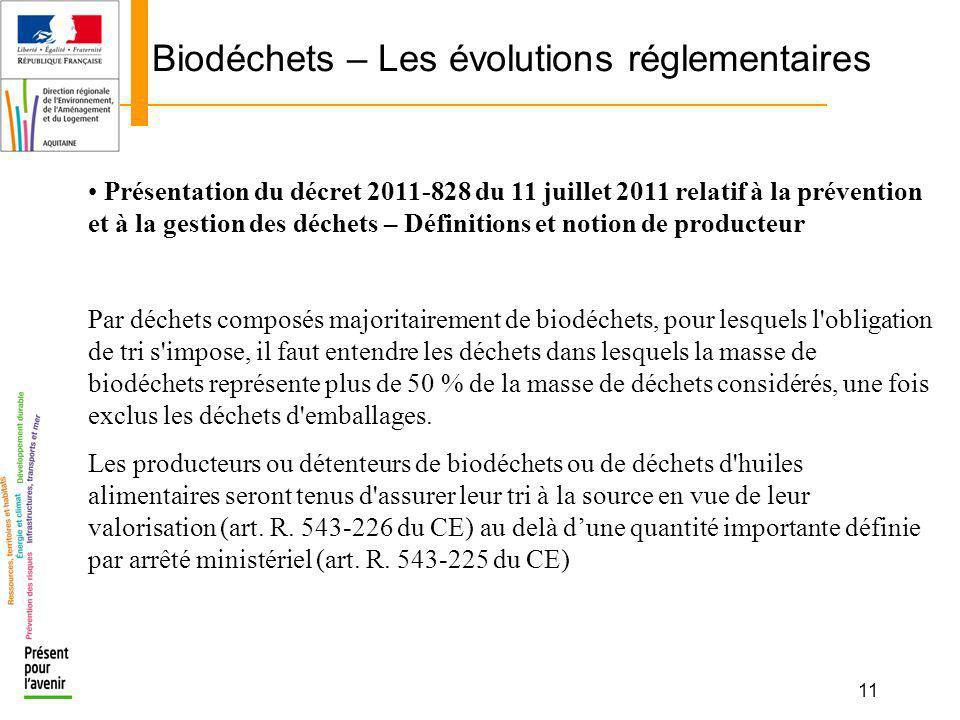 11 Biodéchets – Les évolutions réglementaires Présentation du décret 2011-828 du 11 juillet 2011 relatif à la prévention et à la gestion des déchets –