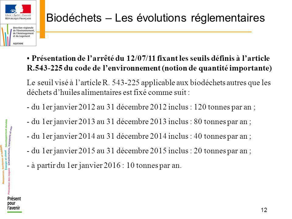 12 Biodéchets – Les évolutions réglementaires Présentation de larrêté du 12/07/11 fixant les seuils définis à larticle R.543-225 du code de lenvironne