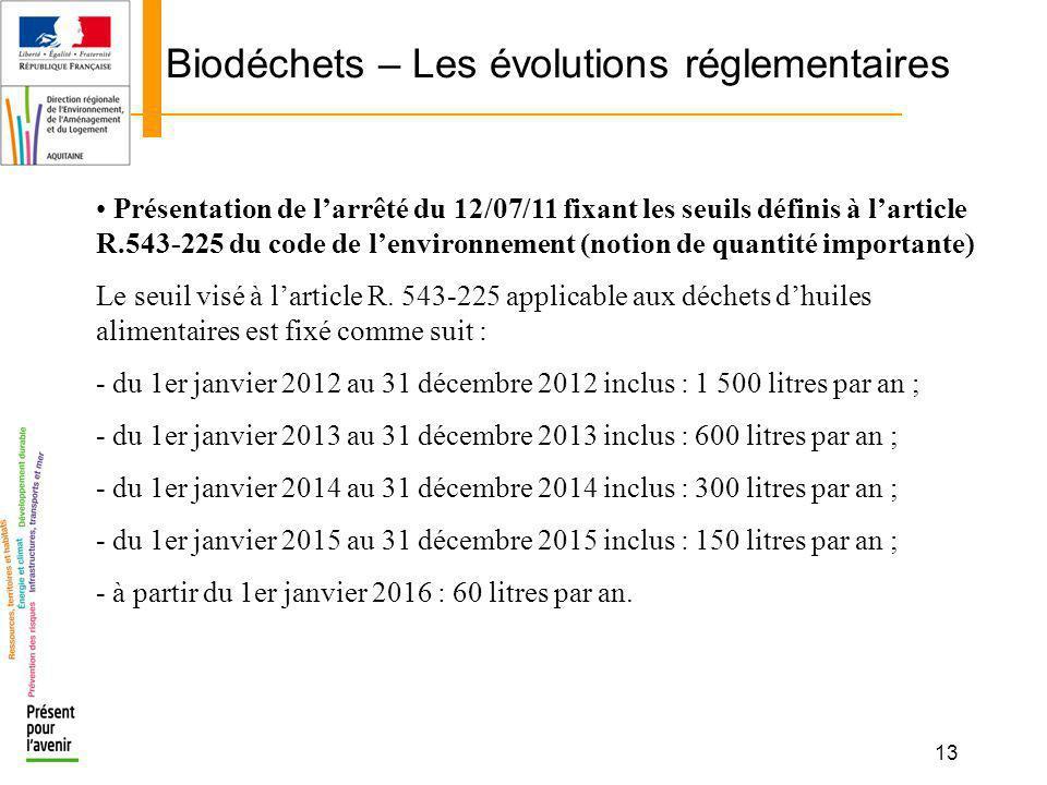 13 Biodéchets – Les évolutions réglementaires Présentation de larrêté du 12/07/11 fixant les seuils définis à larticle R.543-225 du code de lenvironne