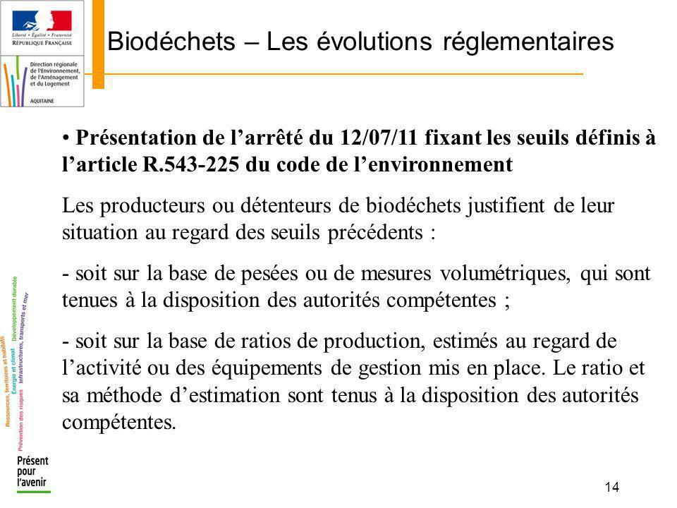 14 Biodéchets – Les évolutions réglementaires Présentation de larrêté du 12/07/11 fixant les seuils définis à larticle R.543-225 du code de lenvironne