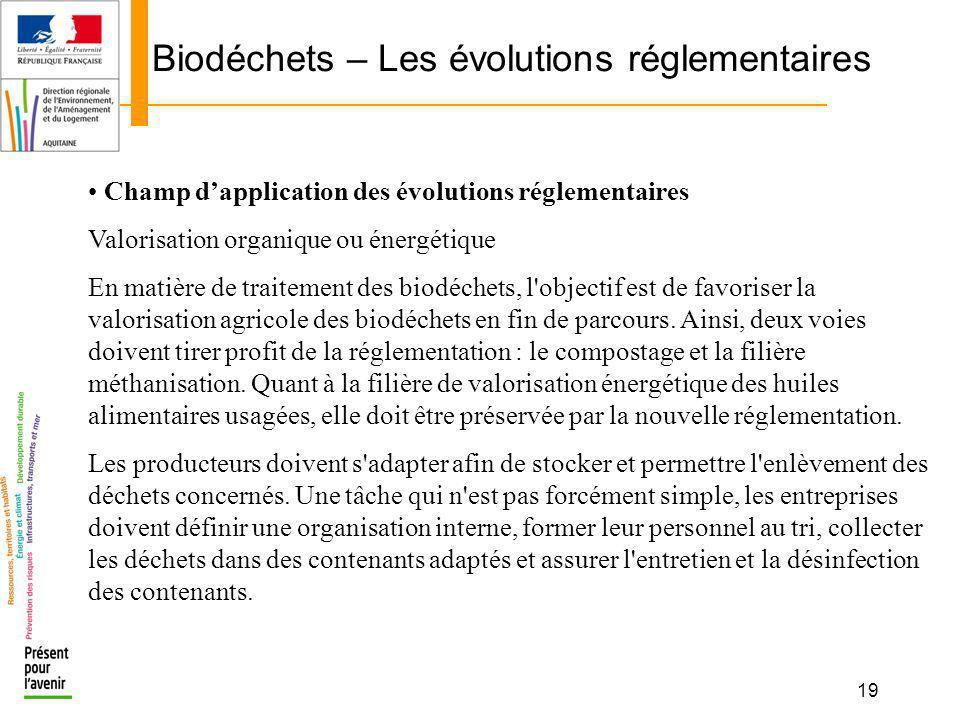 19 Biodéchets – Les évolutions réglementaires Champ dapplication des évolutions réglementaires Valorisation organique ou énergétique En matière de tra