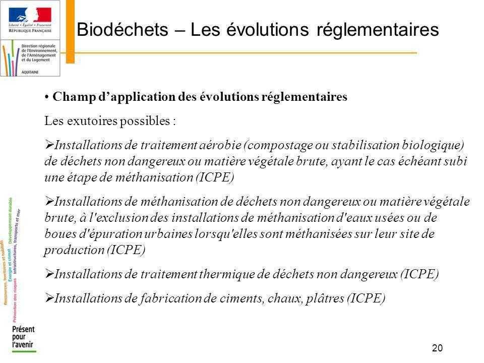 20 Biodéchets – Les évolutions réglementaires Champ dapplication des évolutions réglementaires Les exutoires possibles : Installations de traitement a