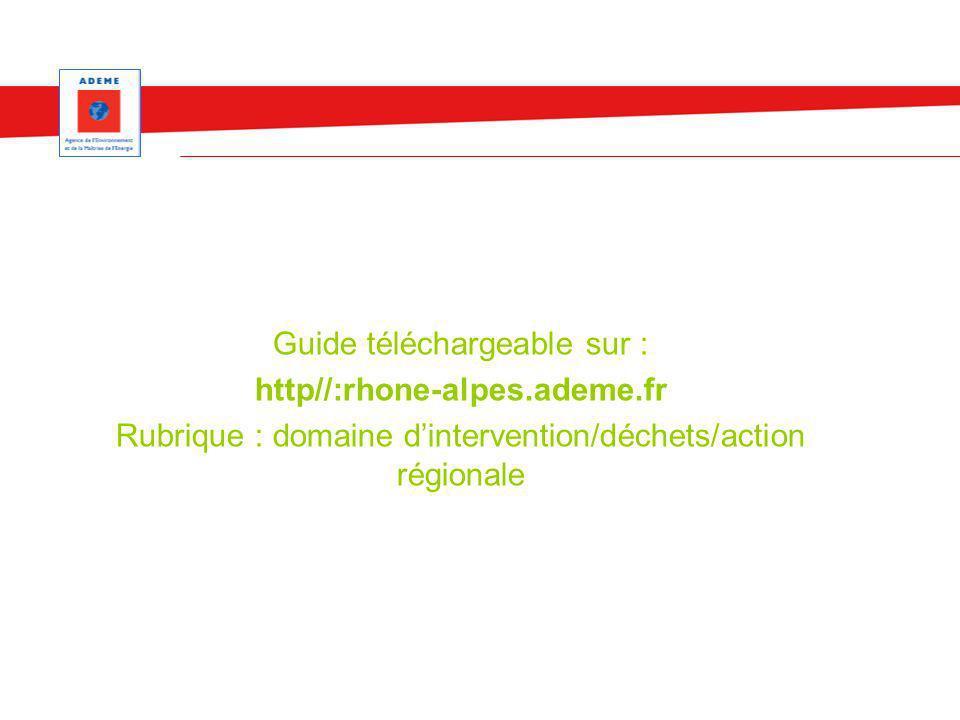 Guide téléchargeable sur : http//:rhone-alpes.ademe.fr Rubrique : domaine dintervention/déchets/action régionale