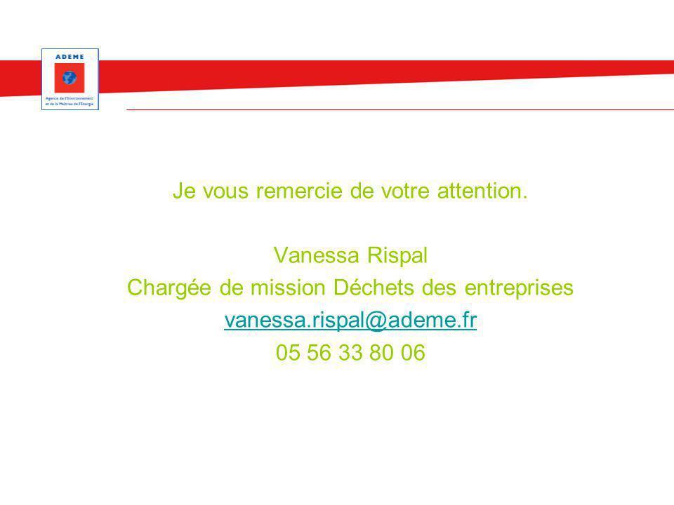Je vous remercie de votre attention. Vanessa Rispal Chargée de mission Déchets des entreprises vanessa.rispal@ademe.fr 05 56 33 80 06