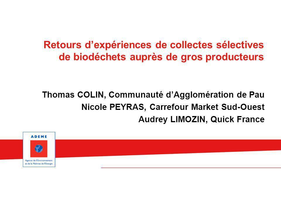 Thomas COLIN, Communauté dAgglomération de Pau Nicole PEYRAS, Carrefour Market Sud-Ouest Audrey LIMOZIN, Quick France Retours dexpériences de collecte
