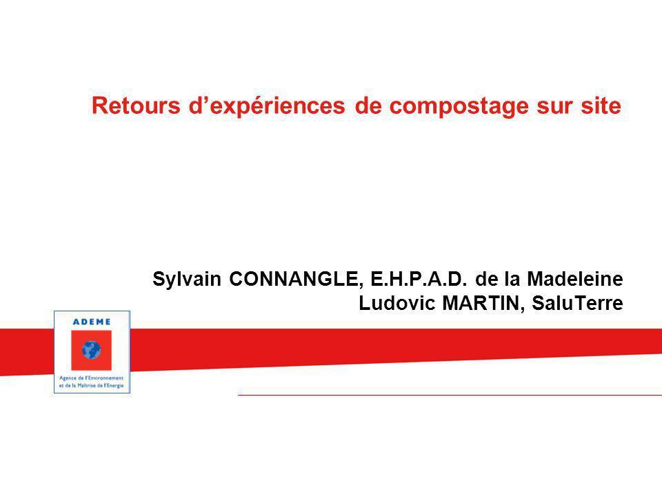 Sylvain CONNANGLE, E.H.P.A.D. de la Madeleine Ludovic MARTIN, SaluTerre Retours dexpériences de compostage sur site