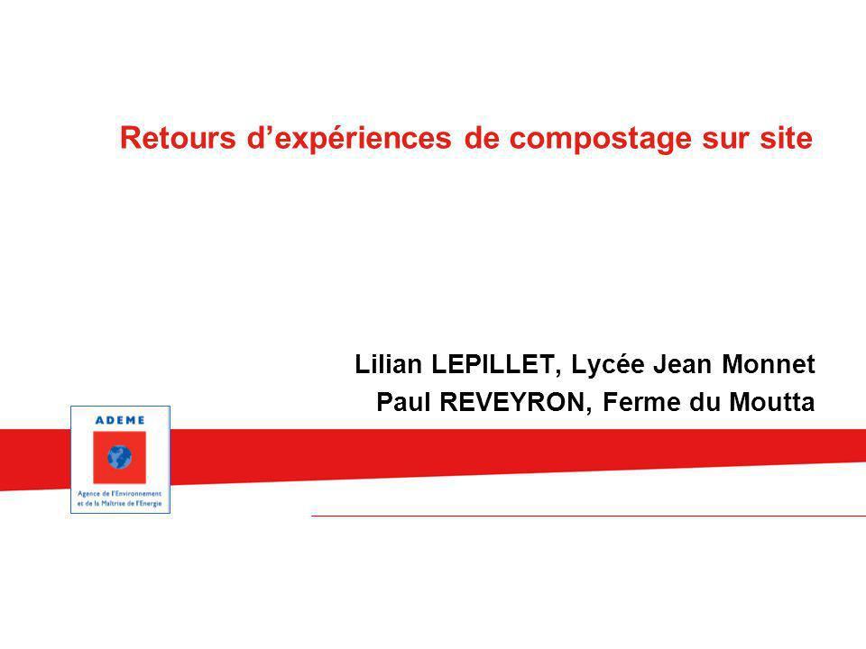 Lilian LEPILLET, Lycée Jean Monnet Paul REVEYRON, Ferme du Moutta Retours dexpériences de compostage sur site