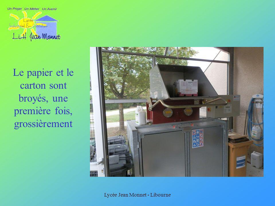 Lycée Jean Monnet - Libourne Le papier et le carton sont broyés, une première fois, grossièrement