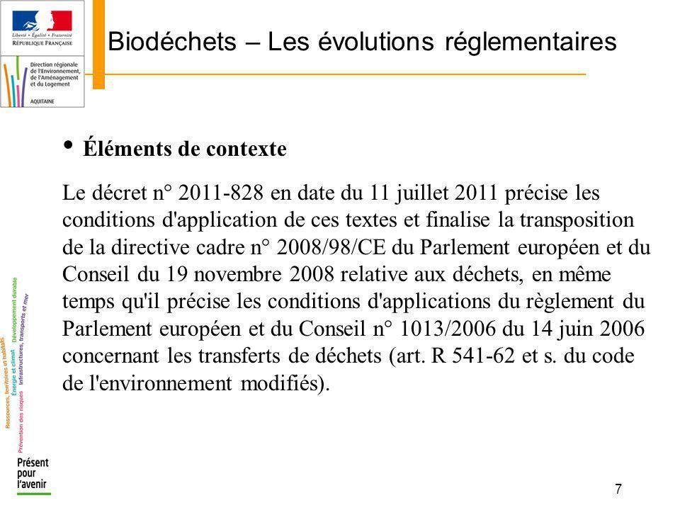 7 Biodéchets – Les évolutions réglementaires Éléments de contexte Le décret n° 2011-828 en date du 11 juillet 2011 précise les conditions d'applicatio