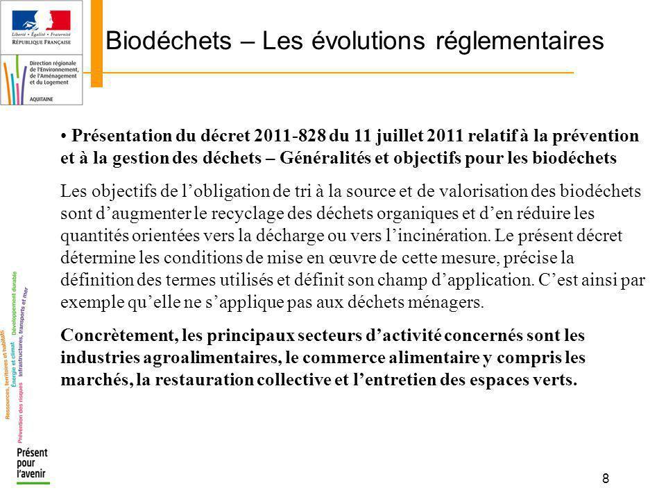 8 Biodéchets – Les évolutions réglementaires Présentation du décret 2011-828 du 11 juillet 2011 relatif à la prévention et à la gestion des déchets –