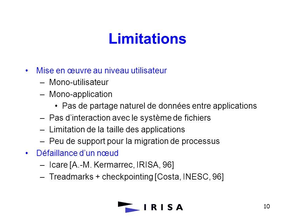 10 Limitations Mise en œuvre au niveau utilisateur –Mono-utilisateur –Mono-application Pas de partage naturel de données entre applications –Pas dinte