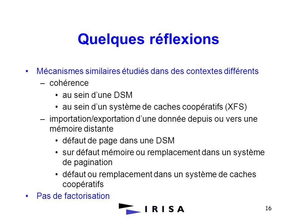 16 Quelques réflexions Mécanismes similaires étudiés dans des contextes différents –cohérence au sein dune DSM au sein dun système de caches coopérati