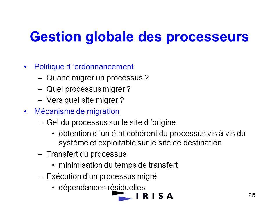 25 Gestion globale des processeurs Politique d ordonnancement –Quand migrer un processus ? –Quel processus migrer ? –Vers quel site migrer ? Mécanisme