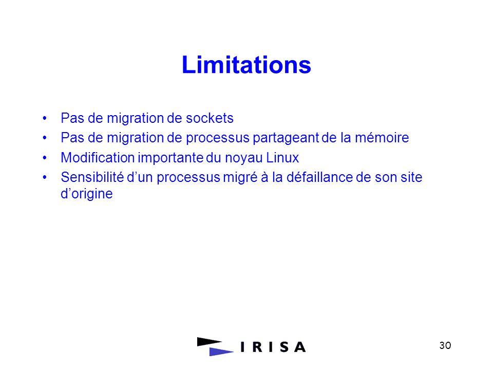 30 Limitations Pas de migration de sockets Pas de migration de processus partageant de la mémoire Modification importante du noyau Linux Sensibilité d