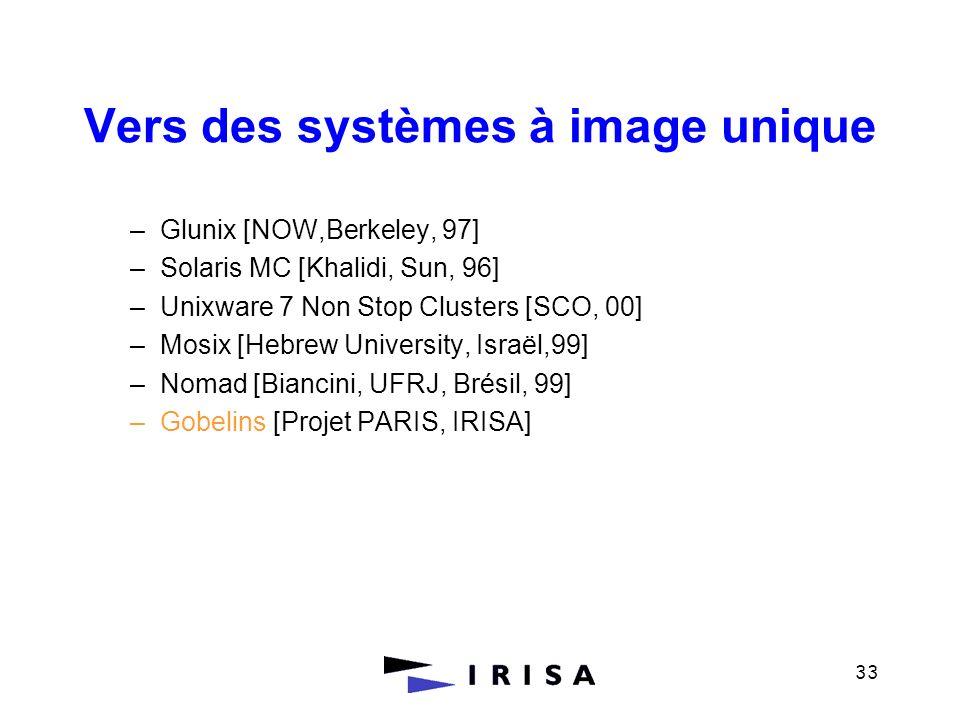 33 Vers des systèmes à image unique –Glunix [NOW,Berkeley, 97] –Solaris MC [Khalidi, Sun, 96] –Unixware 7 Non Stop Clusters [SCO, 00] –Mosix [Hebrew U