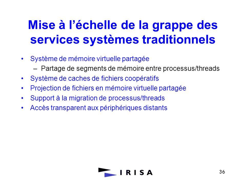 36 Mise à léchelle de la grappe des services systèmes traditionnels Système de mémoire virtuelle partagée –Partage de segments de mémoire entre proces