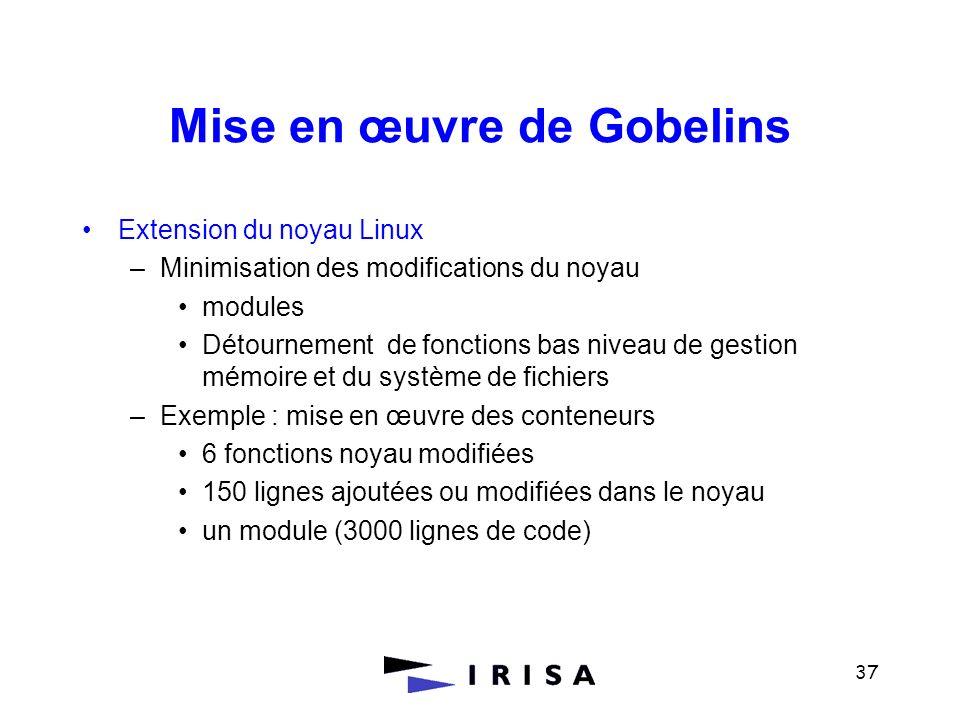 37 Mise en œuvre de Gobelins Extension du noyau Linux –Minimisation des modifications du noyau modules Détournement de fonctions bas niveau de gestion