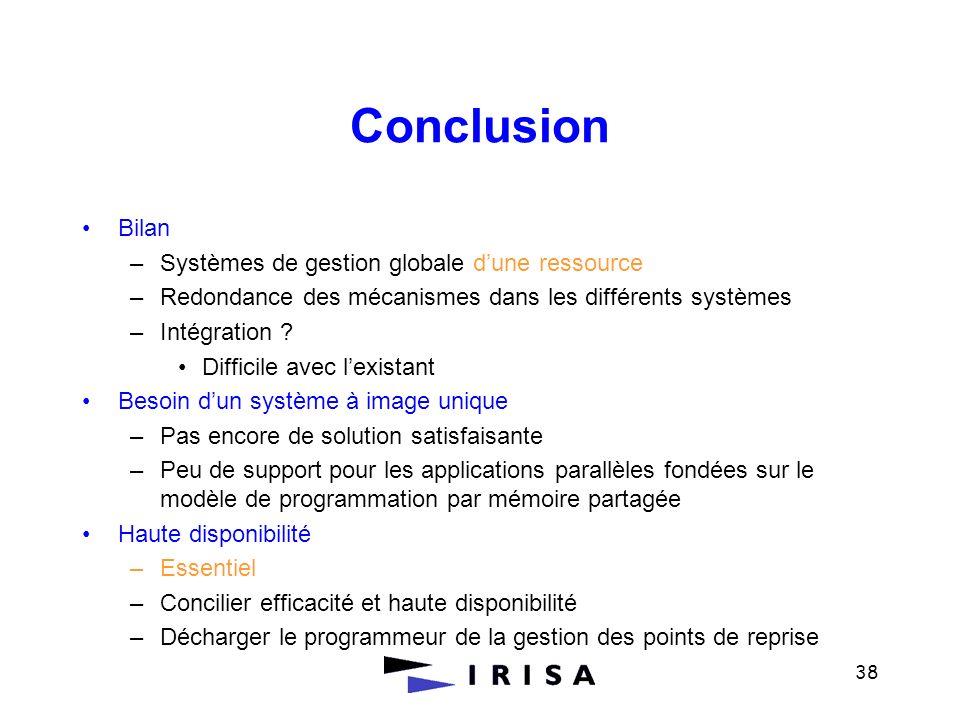 38 Conclusion Bilan –Systèmes de gestion globale dune ressource –Redondance des mécanismes dans les différents systèmes –Intégration ? Difficile avec