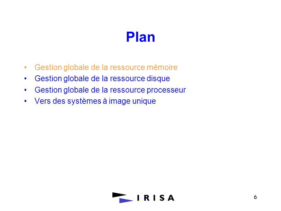 6 Plan Gestion globale de la ressource mémoire Gestion globale de la ressource disque Gestion globale de la ressource processeur Vers des systèmes à i