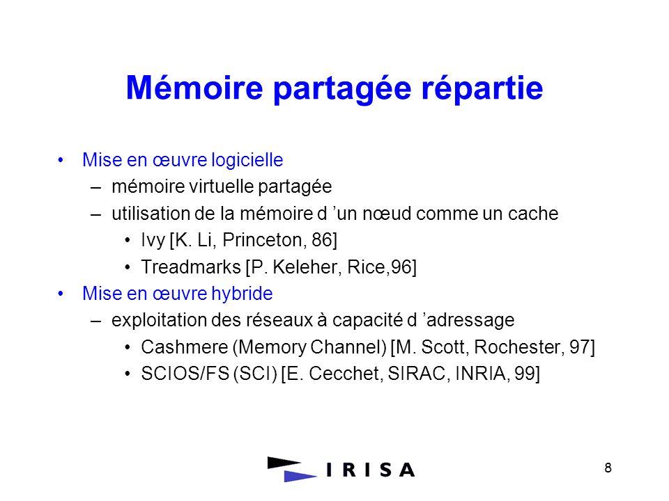 8 Mémoire partagée répartie Mise en œuvre logicielle –mémoire virtuelle partagée –utilisation de la mémoire d un nœud comme un cache Ivy [K. Li, Princ
