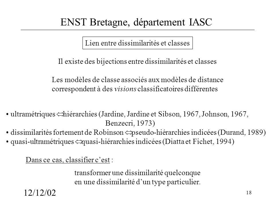 ENST Bretagne, département IASC 12/12/02 18 Lien entre dissimilarités et classes Il existe des bijections entre dissimilarités et classes transformer