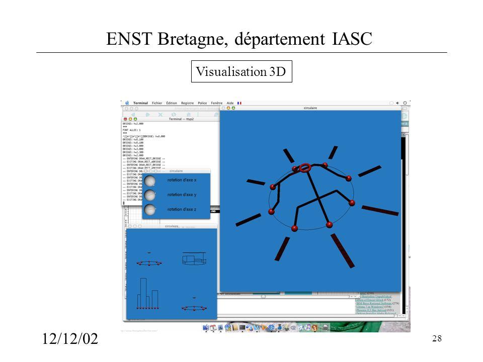 ENST Bretagne, département IASC 12/12/02 28 Visualisation 3D