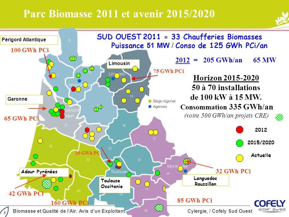 4 Biomasse et Qualité de lAir. Avis dun Exploitant Cylergie, / Cofely Sud Ouest Parc Biomasse 2011 et avenir 2015/2020 Limousin Périgord Atlantique Ga