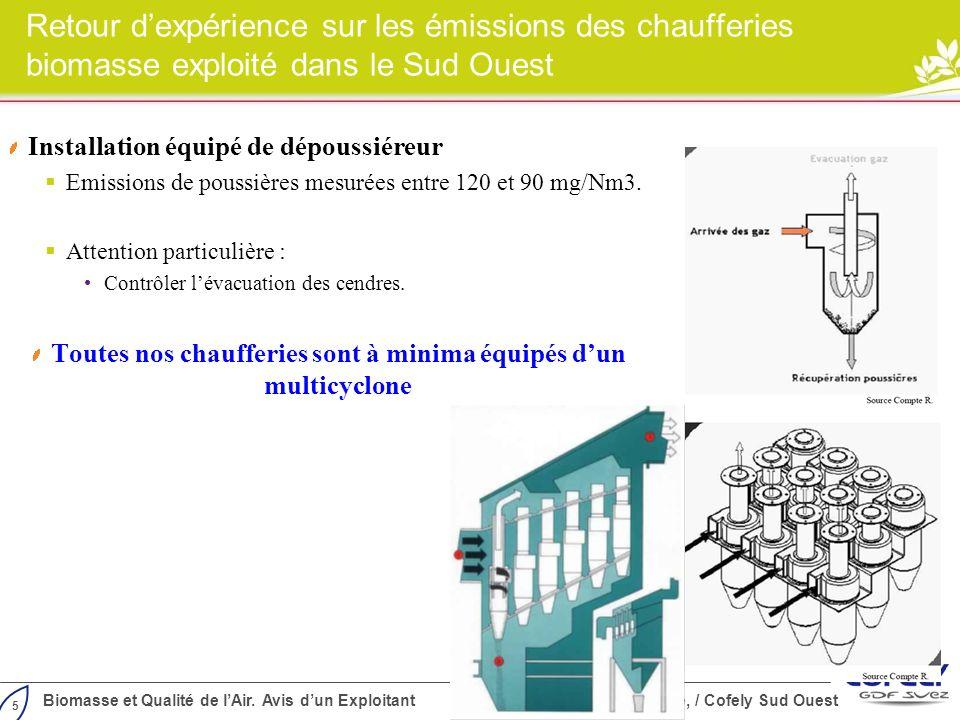 5 Biomasse et Qualité de lAir. Avis dun Exploitant Cylergie, / Cofely Sud Ouest Retour dexpérience sur les émissions des chaufferies biomasse exploité