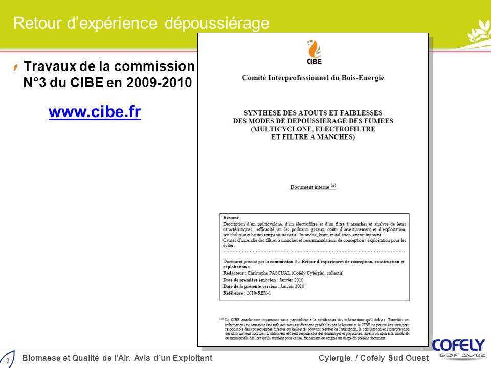 9 Biomasse et Qualité de lAir. Avis dun Exploitant Cylergie, / Cofely Sud Ouest Retour dexpérience dépoussiérage Travaux de la commission N°3 du CIBE