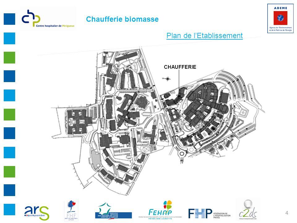 5 PATRIMOINE DU CENTRE HOSPITALIER DE PERIGUEUX EN QUELQUES CHIFFRES : - Surface construite : 134 600 m2 - Surface terrain : 320 000 m2 - Volume chauffé : 374 900 m3 - Longueur réseau chauffage : 4 km - Sous Stations : 20 - Chaufferies : 3 (1 biomasse + 1 vapeur blanchisserie + 1 site annexe) Chaufferie biomasse