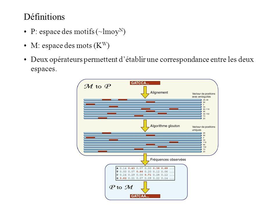 Définitions P: espace des motifs (~lmoy N ) M: espace des mots (K W ) Deux opérateurs permettent détablir une correspondance entre les deux espaces.