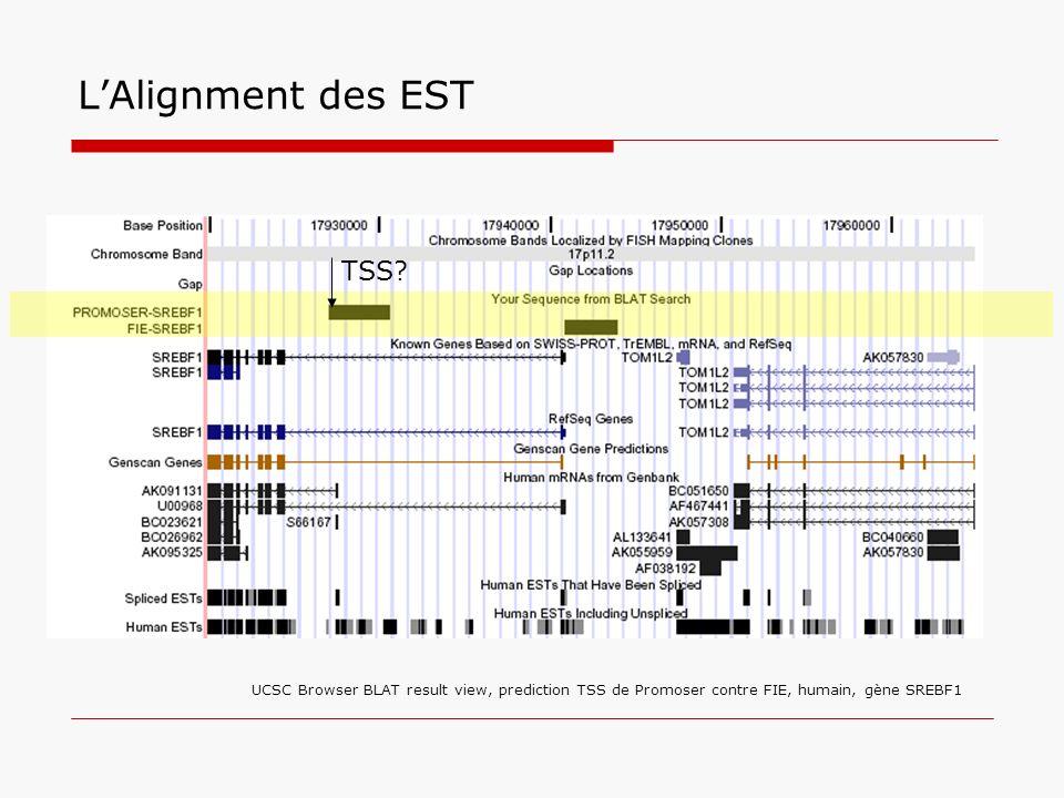 LAlignment des EST UCSC Browser BLAT result view, prediction TSS de Promoser contre FIE, humain, gène SREBF1 TSS?