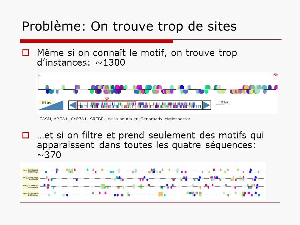 Problème: On trouve trop de sites Même si on connaît le motif, on trouve trop dinstances: ~1300 …et si on filtre et prend seulement des motifs qui app