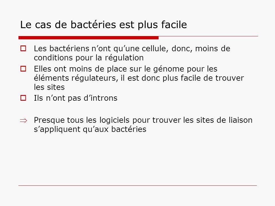 Le cas de bactéries est plus facile Les bactériens nont quune cellule, donc, moins de conditions pour la régulation Elles ont moins de place sur le gé