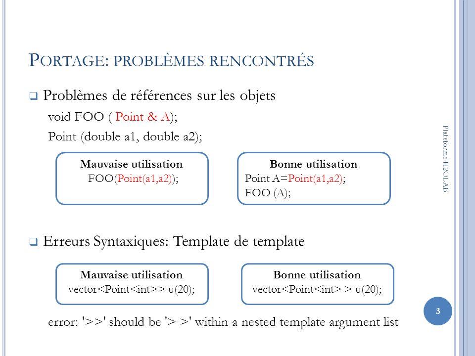 P ORTAGE : PROBLÈMES RENCONTRÉS Méthodes non paramétrées dune classe mère appelée dans une classe fille template class Base { int f(); }; template class Derived : Base { int g() { return f(); }; }; 4 Plateforme H2OLAB Solution this->f() ou Base ::f()