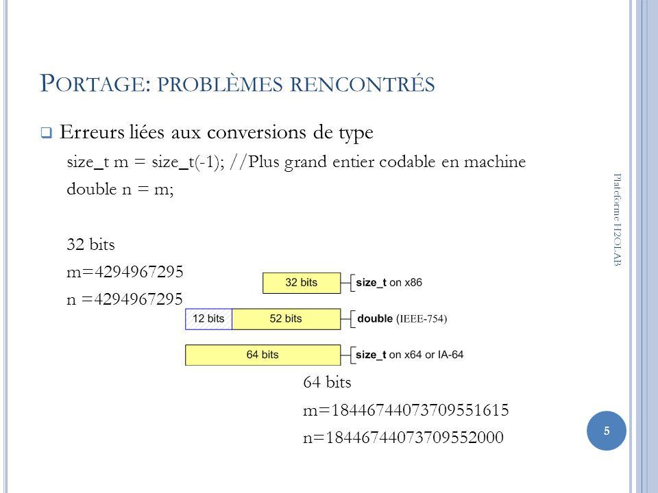 P ORTAGE : PROBLÈMES RENCONTRÉS Erreurs liées aux conversions de type size_t m = size_t(-1); //Plus grand entier codable en machine double n = m; 32 b