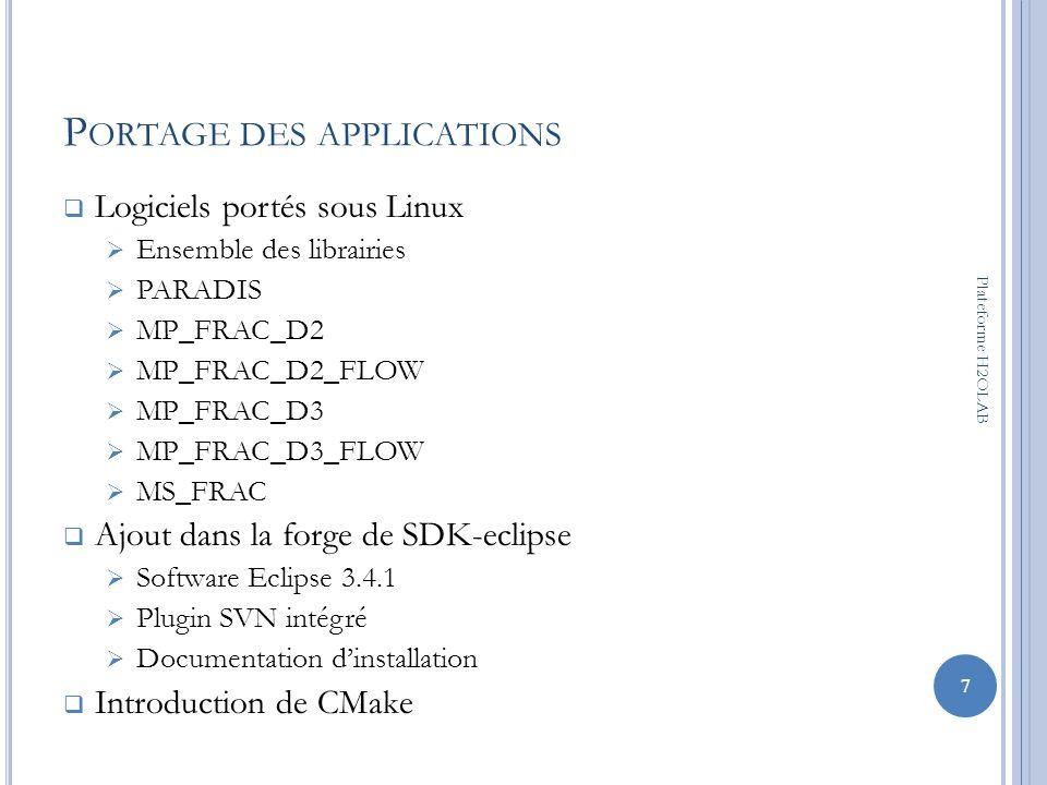 O UTILS L OGICELS : C MAKE C est un logiciel qui est: développé par Kitware Opensource Multiplatforme (Unix/Mac/Windows) Principe: génération de fichiers de construction standards Makefiles sous Unix/Linux/Mac Projet Visual Studio C++sous Windows 8 Plateforme H2OLAB